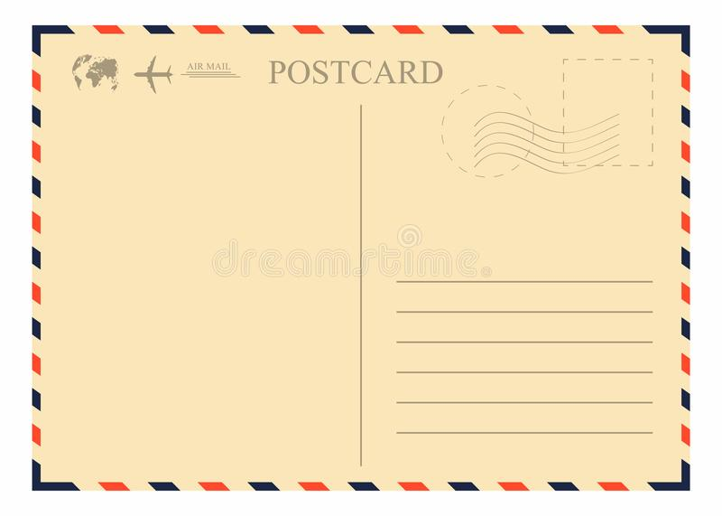 Weinlesepostkartenschablone Retro- Luftpostumschlag mit Stempel, Flugzeug und Kugel stock abbildung