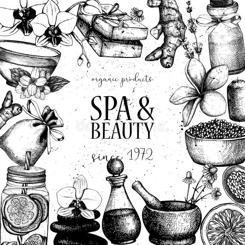 Weinleserahmen mit Handgezogenen BADEKURORT- und Schönheitsillustrationen Karten- oder Einladungsdesign Kosmetik und aromatisches stock abbildung