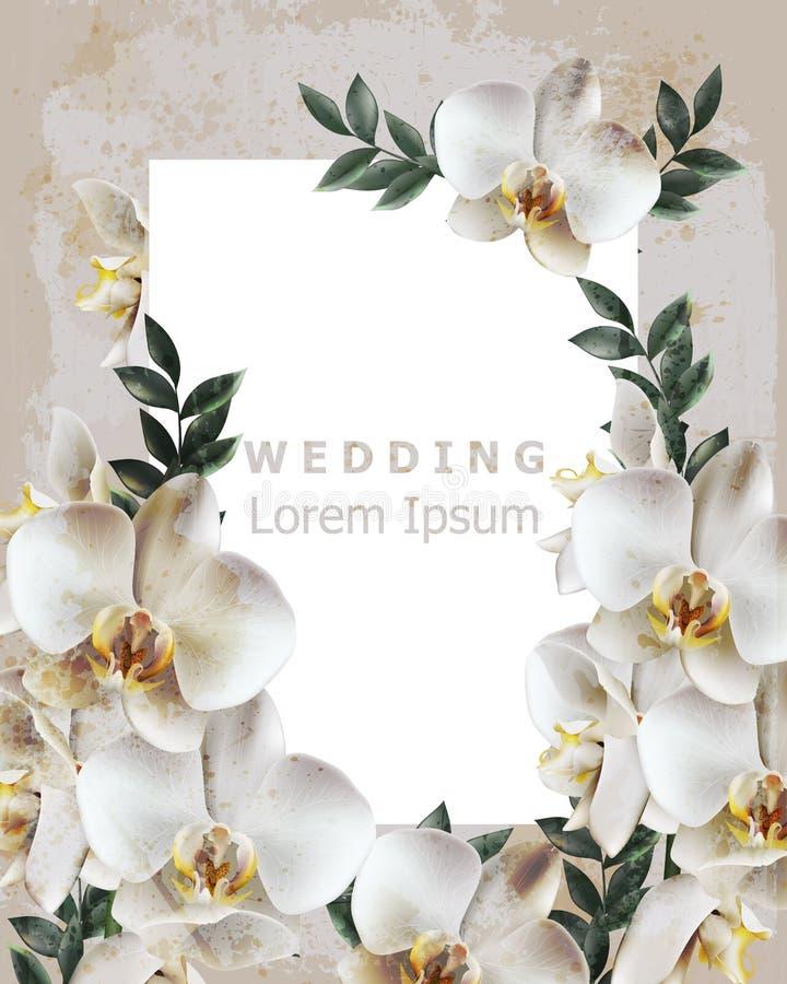 Weinleserahmen mit realistischem Orchideenblumen Vektor Heiratseinladungsempfindlicher Blumendekor Alter Schmutzeffekt Illustrati lizenzfreie abbildung