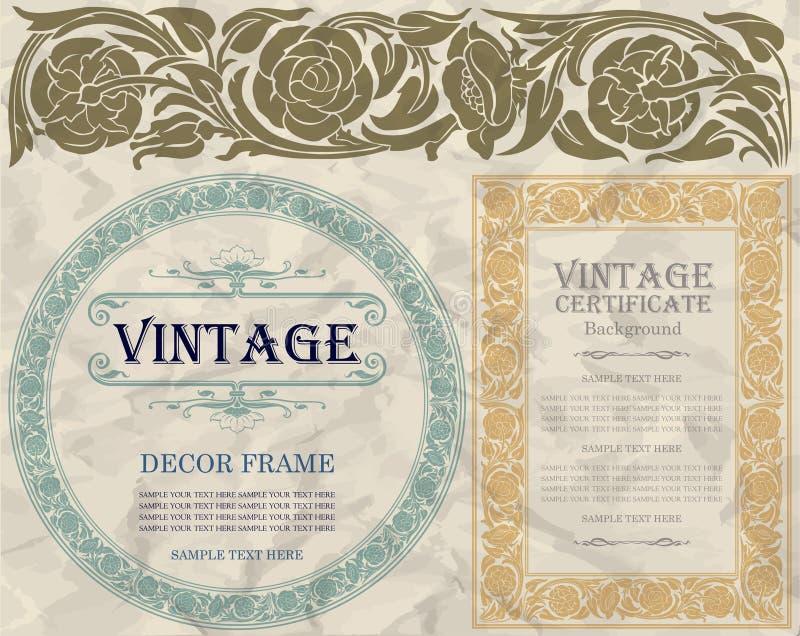 Weinleserahmendesign: Jugendstil stock abbildung