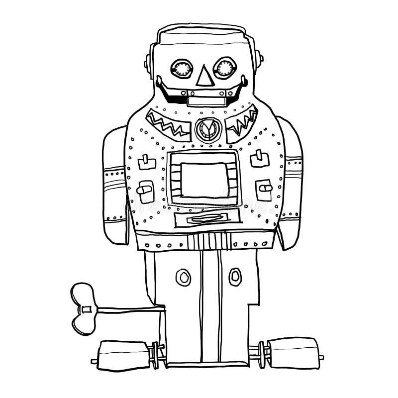 Weinleseroboterspielzeug SPARKY gezeichnete Linie Kunst nettes illusration ROBOTERS Hand stock abbildung