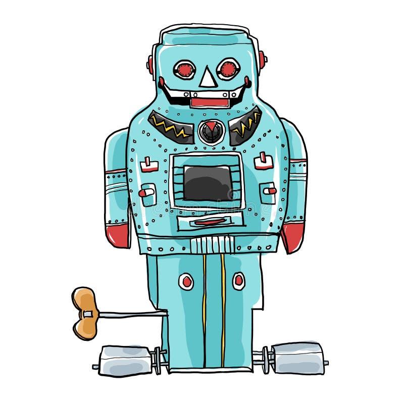 Weinleseroboterspielzeug SPARKY gezeichnetes Kunst ROBOTERS Hand nettes illusration stock abbildung
