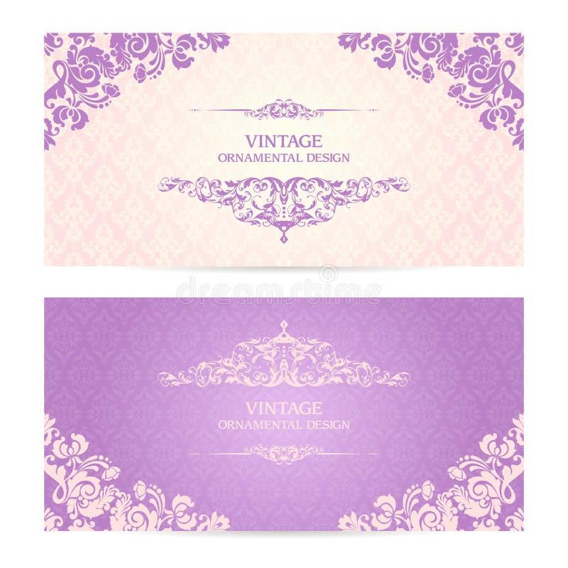 Weinlesesatz dekorative Grenzen der Schablone und kopierter Hintergrund Elegante Spitzehochzeitseinladungsdesign Gruß-Karte, Fahn lizenzfreie abbildung