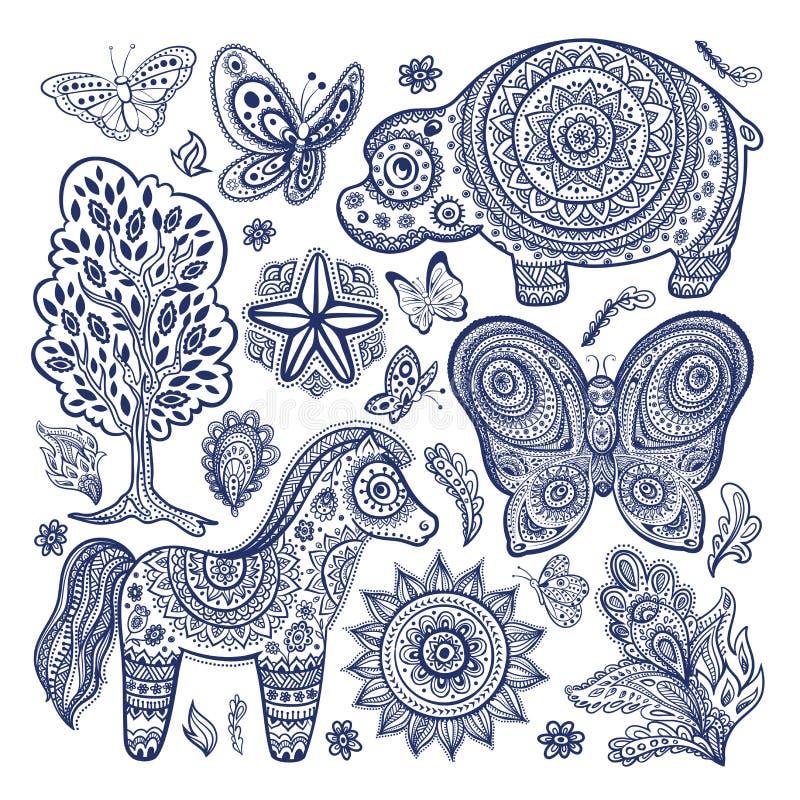 Weinlesesatz ethnische Tiere vektor abbildung