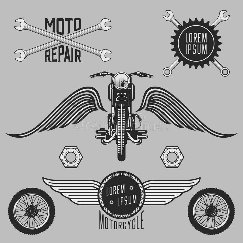 Weinlesesatz Motorradzeichen, -aufkleber und -Gestaltungselemente vektor abbildung