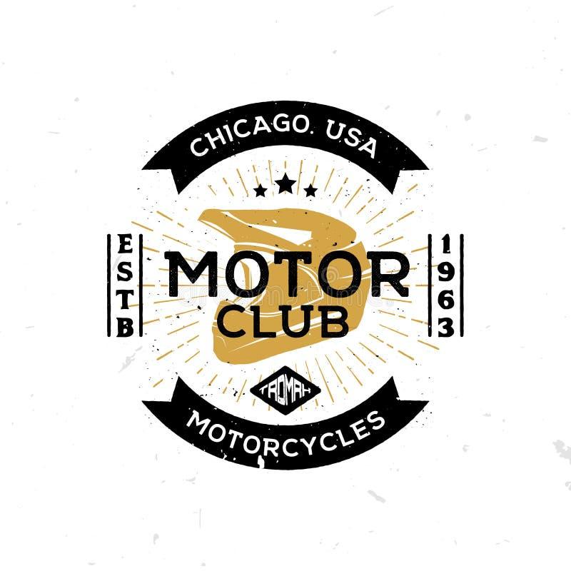 Weinleseschablone des Emblems des Bewegungsclubs mit Sturzhelm in der Mitte stock abbildung