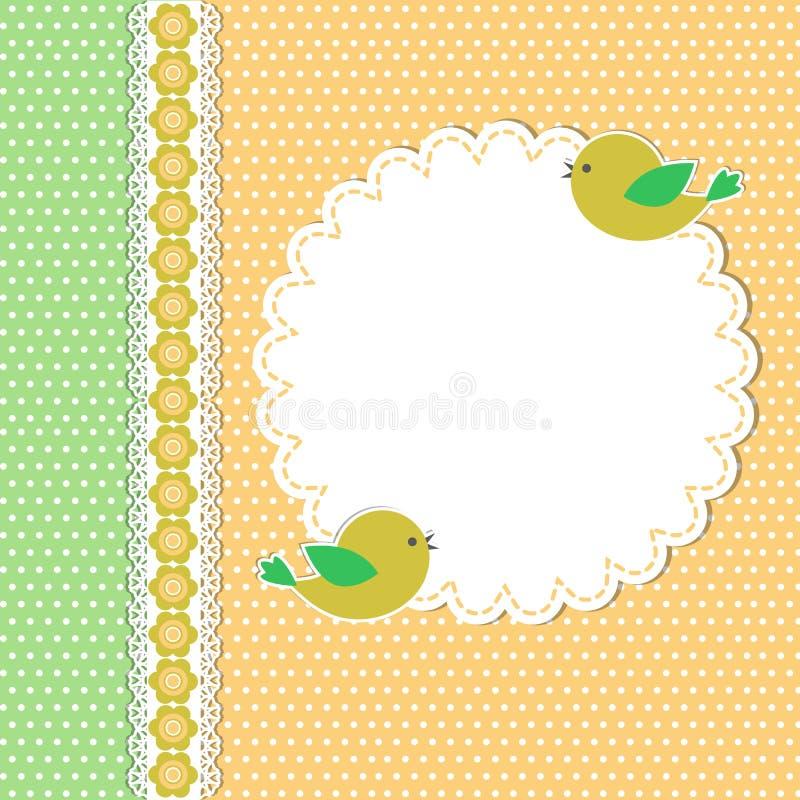 Weinleseschablone mit zwei Vögeln lizenzfreie abbildung