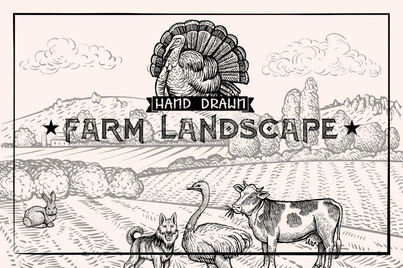 Weinlesescheunenlandschaft und Vieh Strauß und Kuh Strukturierte horizontale Schablone stock abbildung