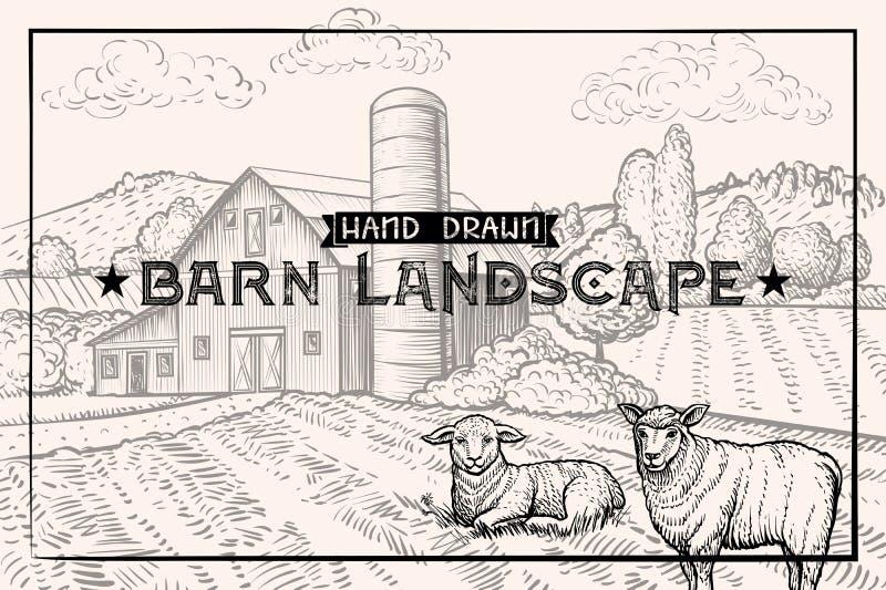 Weinlesescheunenlandschaft und Vieh werfen und Schafe Strukturierte horizontale Schablone lizenzfreie abbildung