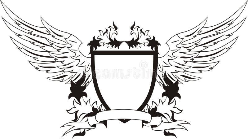 Weinleseschild mit Flügeln stock abbildung