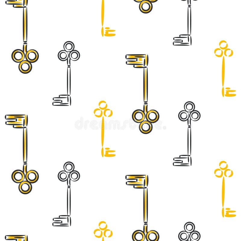 Weinleseschlüssel übergeben gezogenem Vektor nahtloses Muster vektor abbildung