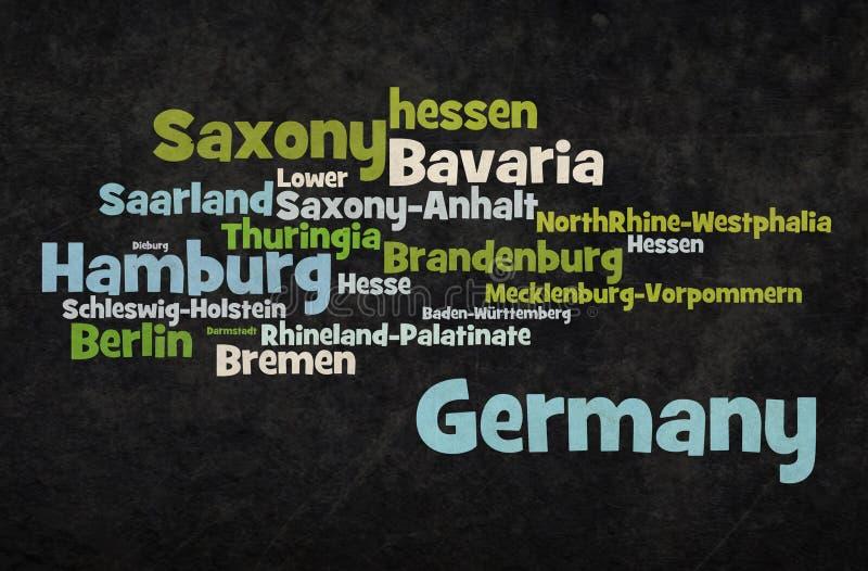 Weinleseschmutz Deutschland-Wortwolke vektor abbildung