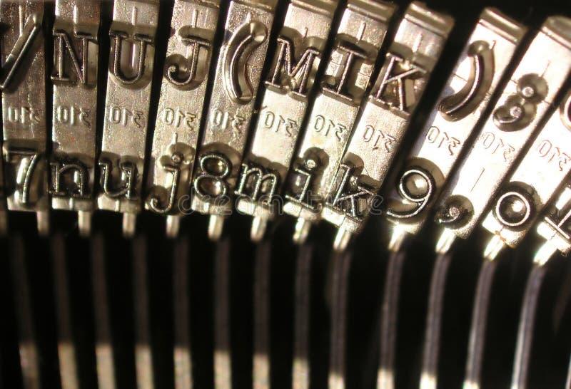 Weinleseschreibmaschine - Zahl- und Zeichentasten stockbild