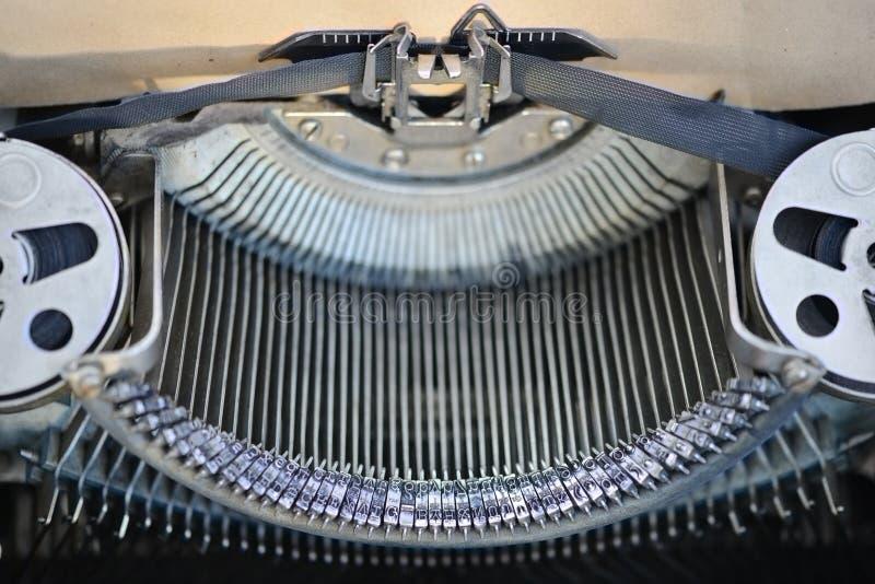 Weinleseschreibmaschinenmaschinen-Schlüsselnahaufnahme oder Makroschuß stockbild