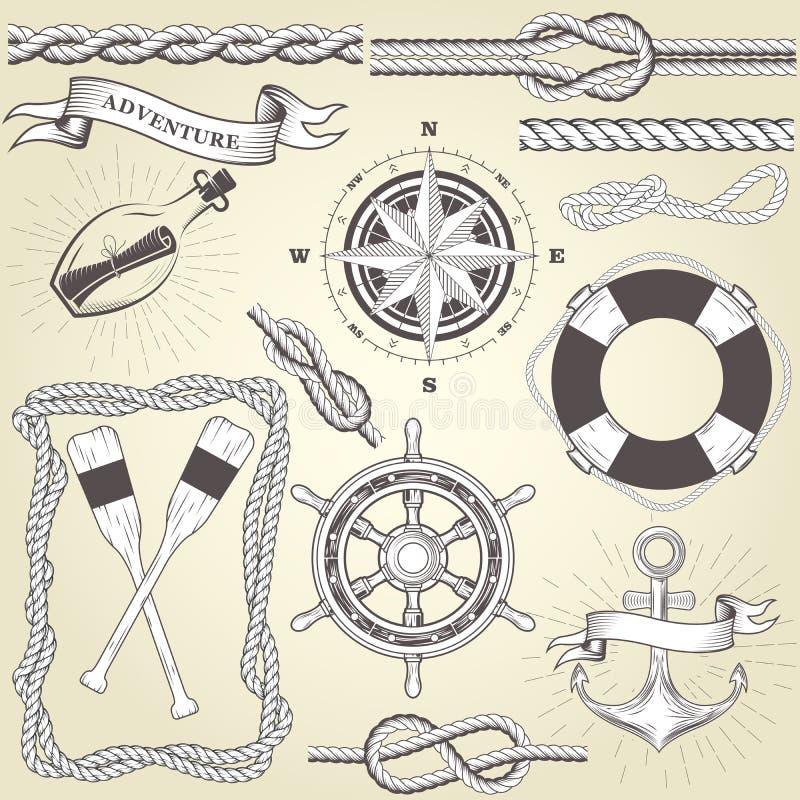 Weinleseseefahrtelemente - Lenkrad, Ruder, Seilrahmen stock abbildung