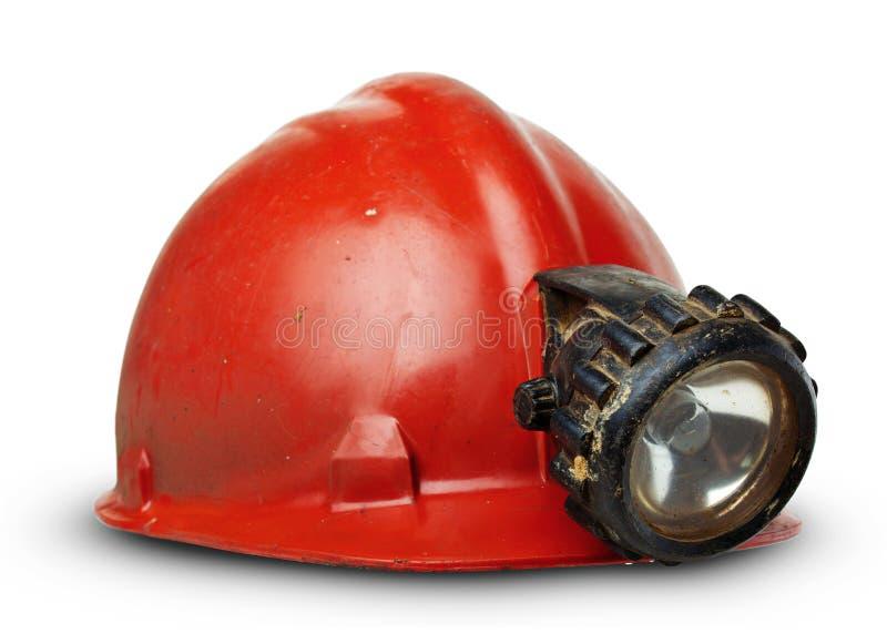 WeinleseSicherheitshelm mit Lampe lizenzfreie stockbilder