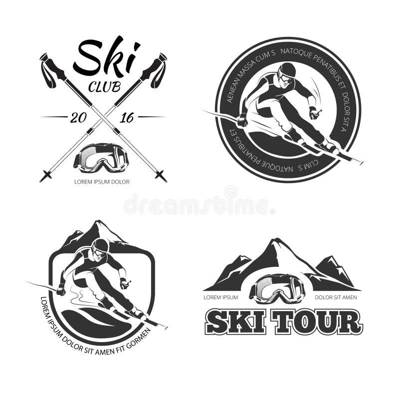 Weinleseskifahren und -winter Sport vector Embleme, Aufkleber, Ausweise, die eingestellten Logos lizenzfreie abbildung
