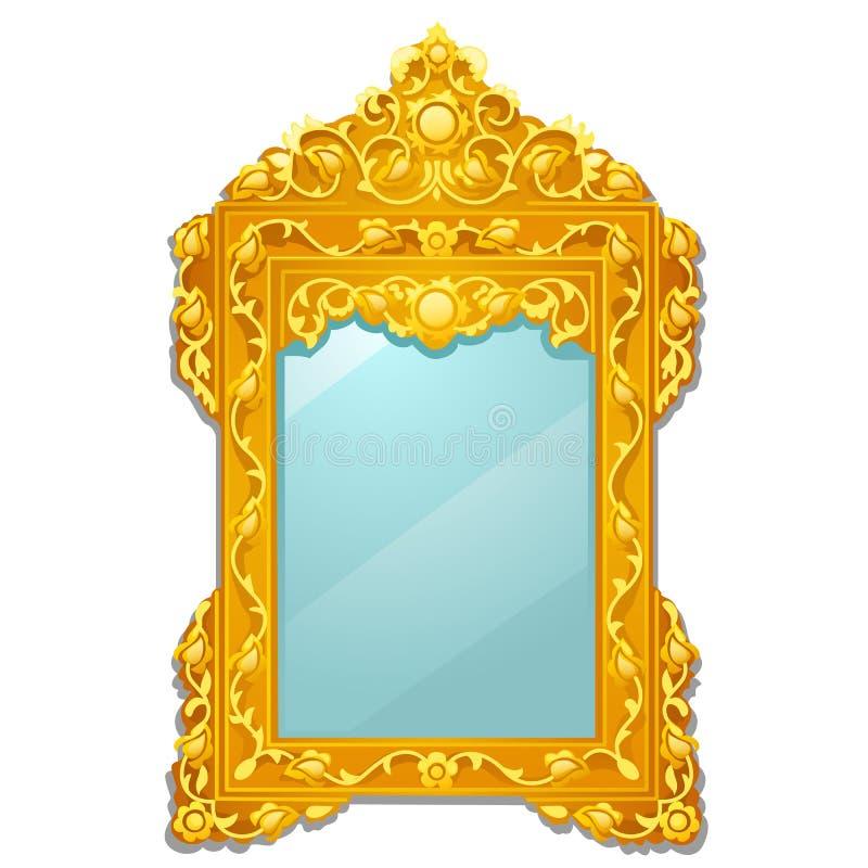 Weinlesespiegel mit dem goldenen aufwändigen blumigen Rahmen lokalisiert auf weißem Hintergrund Vektorkarikatur-Nahaufnahmeillust lizenzfreie abbildung