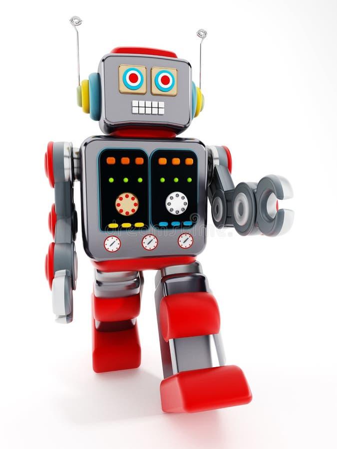 Weinlesespielzeugroboter auf weißem Hintergrund Abbildung 3D stock abbildung