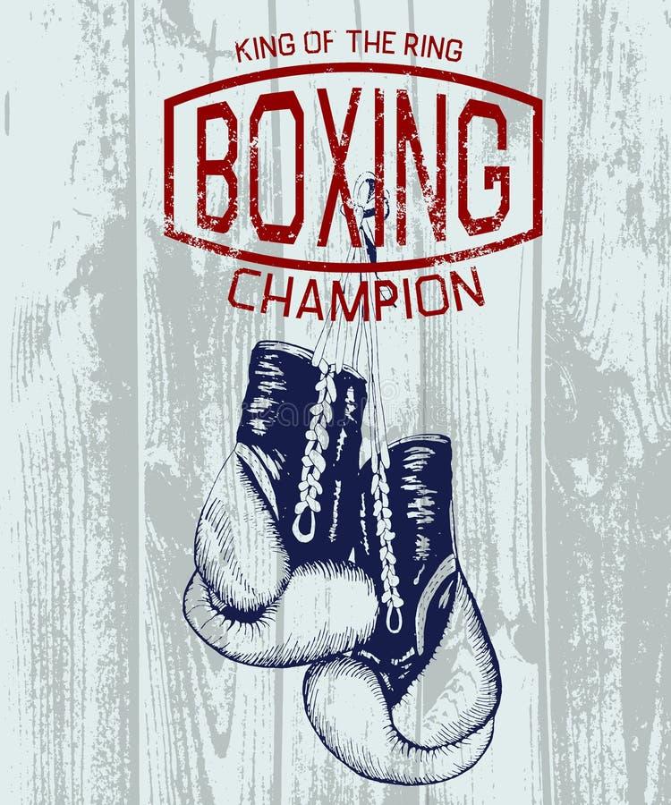 Weinlesesportaufkleber mit Boxhandschuhen lizenzfreie abbildung