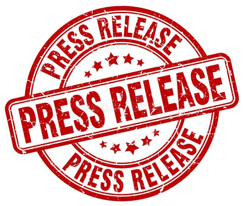 Weinlesestempel des roten Schmutzes der Pressemitteilung runder lizenzfreie abbildung