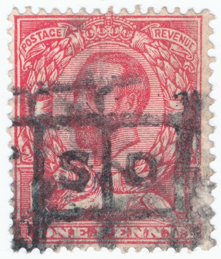 Weinlesestempel gedruckt in Großbritannien 1911-1912 Shows, König George V lizenzfreies stockfoto