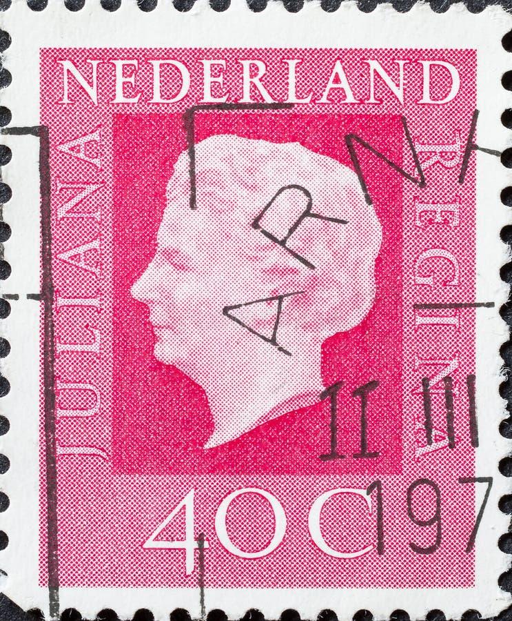 Weinlesestempel zeigt Juliana Queen der Niederlande lizenzfreie stockfotografie