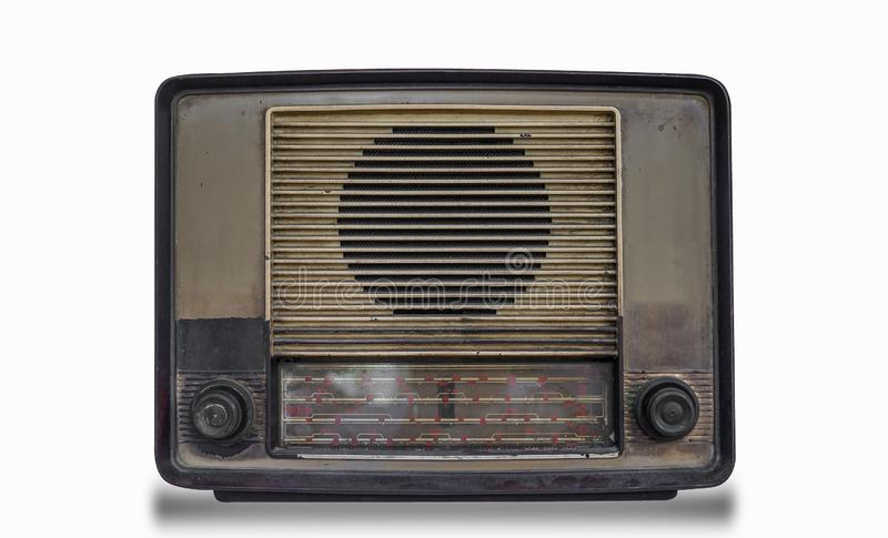 Weinlesestereoradio auf weißem Hintergrund stockfotografie