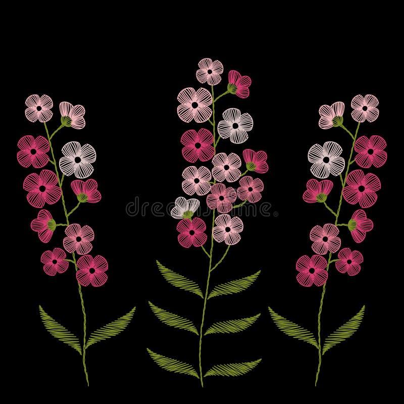 Weinlesestickereistiche mit Frühlingsrosablumen vergessen mich n lizenzfreie abbildung