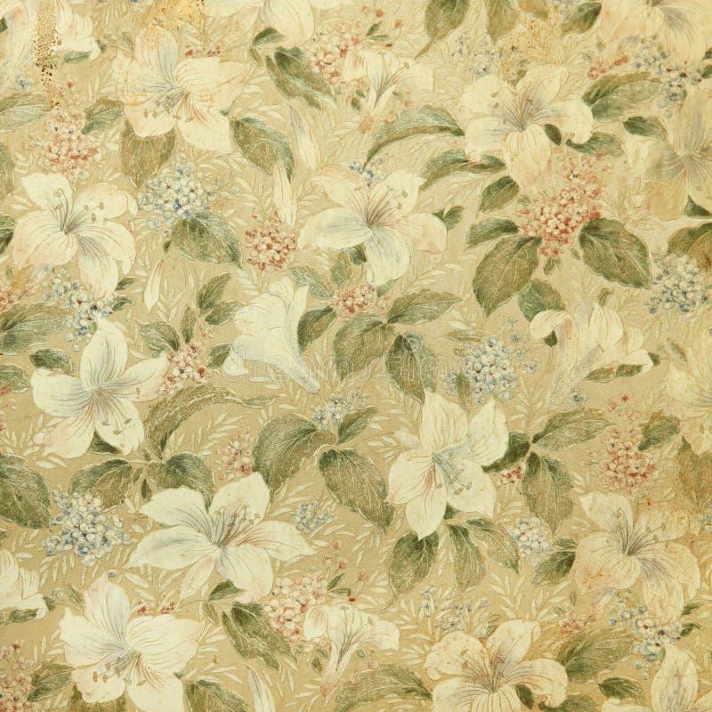 Weinlesetapete mit Blumenmusterhintergrund stockbild