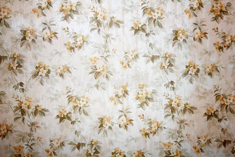 Weinlesetapete mit Blumenmusterhintergrund stockfoto