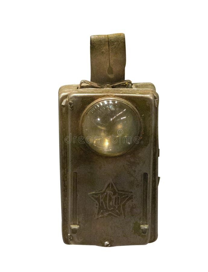 Weinlesetaschenlampe auf einem weißen Hintergrund Alte Taschenlampe stockbilder
