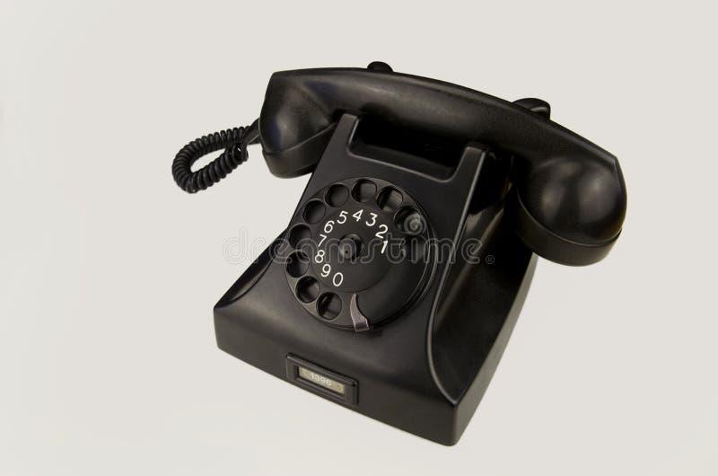 Weinlesetelefon auf weißem Hintergrund stockfotografie