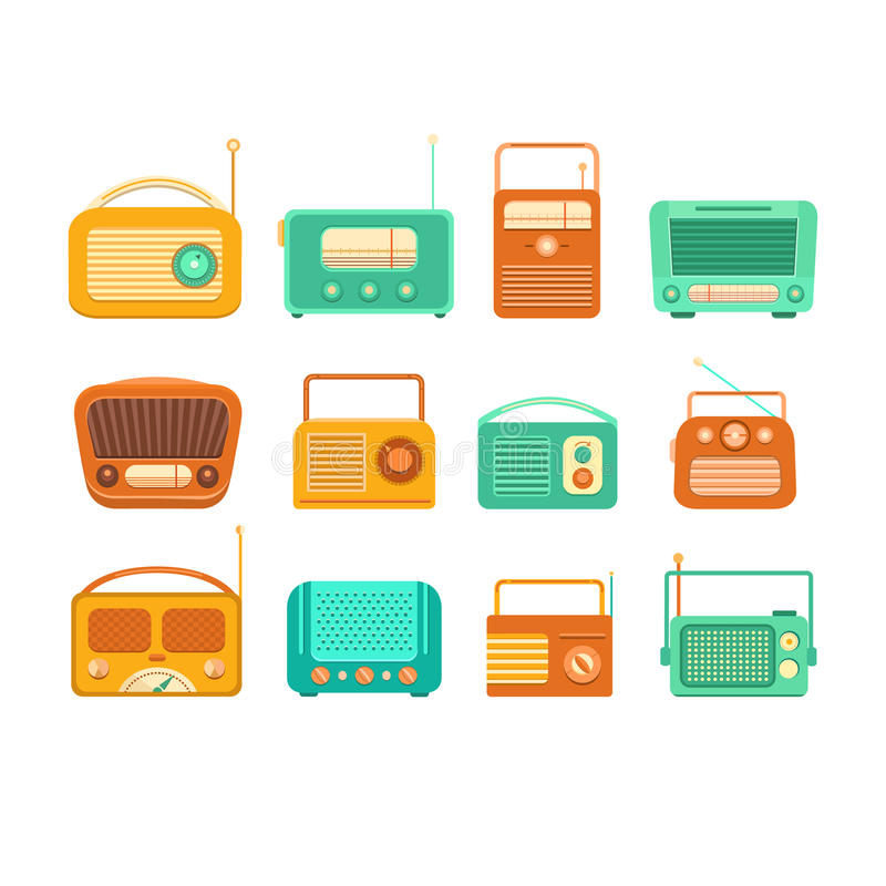 WeinleseTonbandgerät und Radio stock abbildung