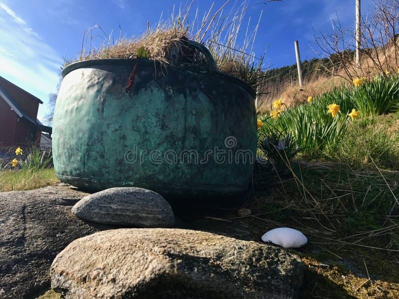 Weinlesetopf auf Felsen lizenzfreies stockfoto