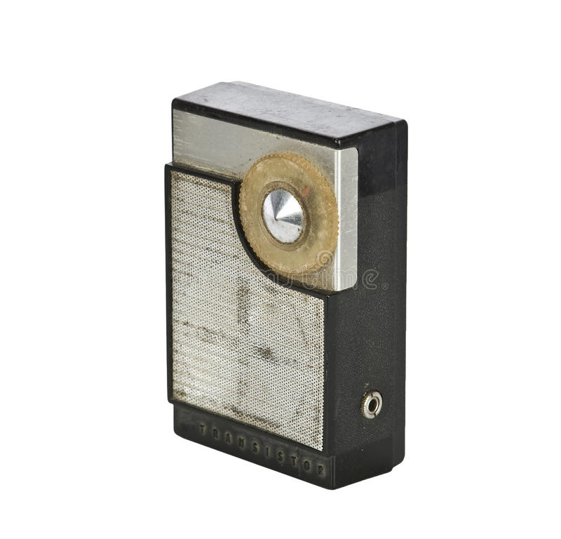 Weinlesetransistorfunk getrennt auf Weiß stockfoto