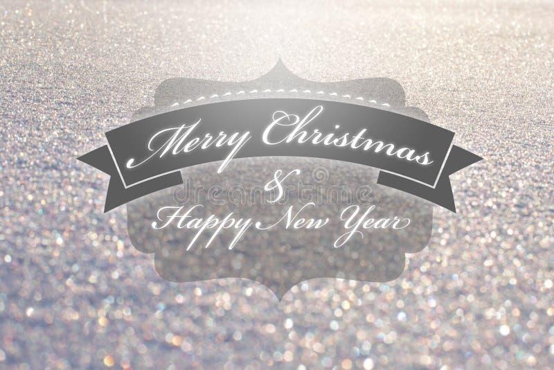 Weinlesetypographie der frohen Weihnachten stockbild