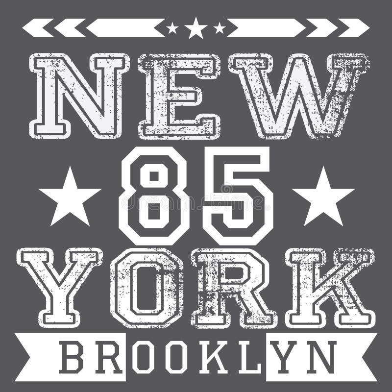 Weinlesetypographieplakat New York City Retro-, T-Shirt Druckdesign, Vektor Ausweis-Applikations-Aufkleber vektor abbildung