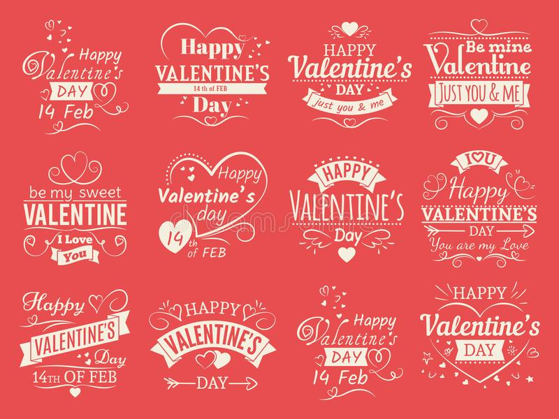 Weinlesevalentinsgrußtagesvektorfahnen für Liebesgrußkarte - typografische Embleme der Liebe entwerfen vektor abbildung