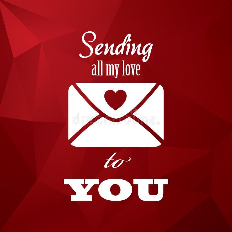 Weinlesevalentinstagkarten-Konzeptdesign mit Umschlag, Typografiemitteilung und Herzen auf rotem niedrigem Polyhintergrund lizenzfreie abbildung