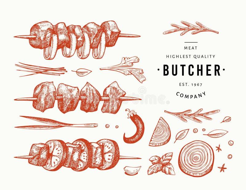 Weinlesevektor-Fleischillustration Handgezogene Kebabs, -gewürze und -kräuter Grillsatz Retro- Skizze Sein kann Gebrauch f?r Aufk stock abbildung