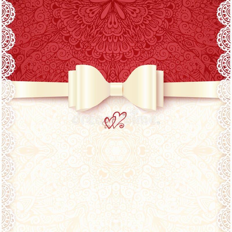 Weinlesevektor-Hochzeitskartenschablone vektor abbildung