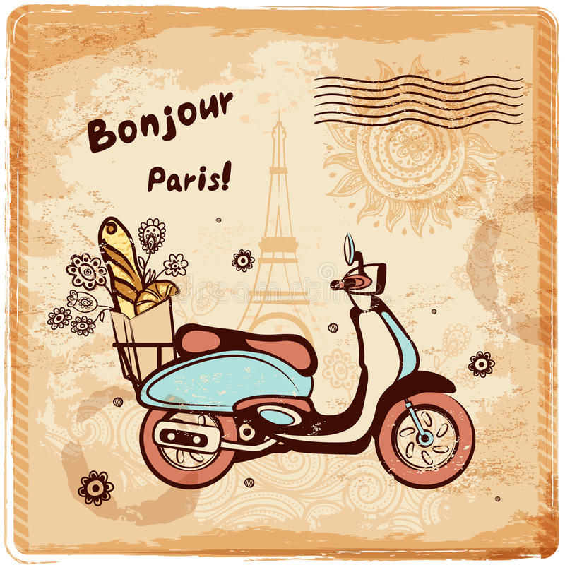 Weinlesevektor Paris-Postkartenillustration lizenzfreie abbildung