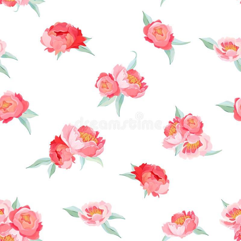 Weinlesevektor-Sommermuster der Pfingstrosen-Blumen nahtloses Blumenhintergrund für Tapeten, Webseite, Beschaffenheit, Gewebe vektor abbildung