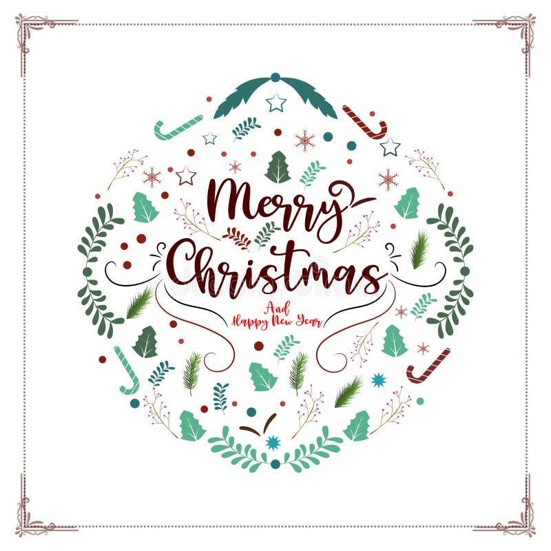 Weinlesevektorhintergrund der frohen Weihnachten und des guten Rutsch ins Neue Jahr dekorativer für Feiertagsgruß-Kartenentwurfss stock abbildung