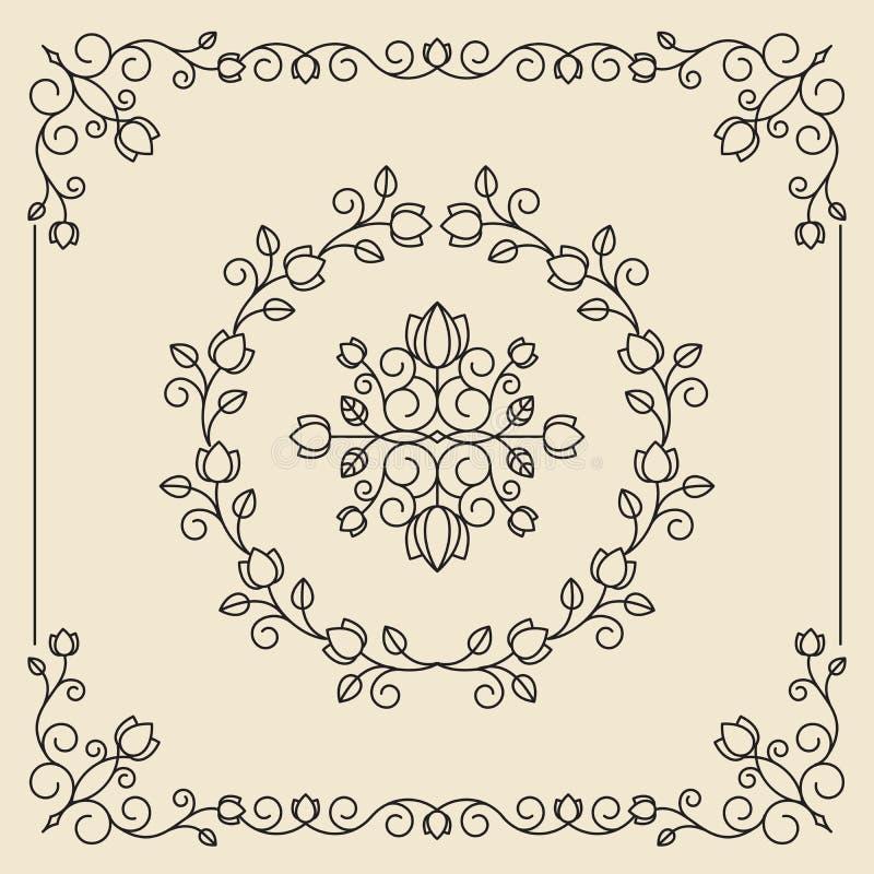 Weinleseverzierungen und -teiler Konzipieren Sie Elementset Aufwändige Flor lizenzfreie abbildung