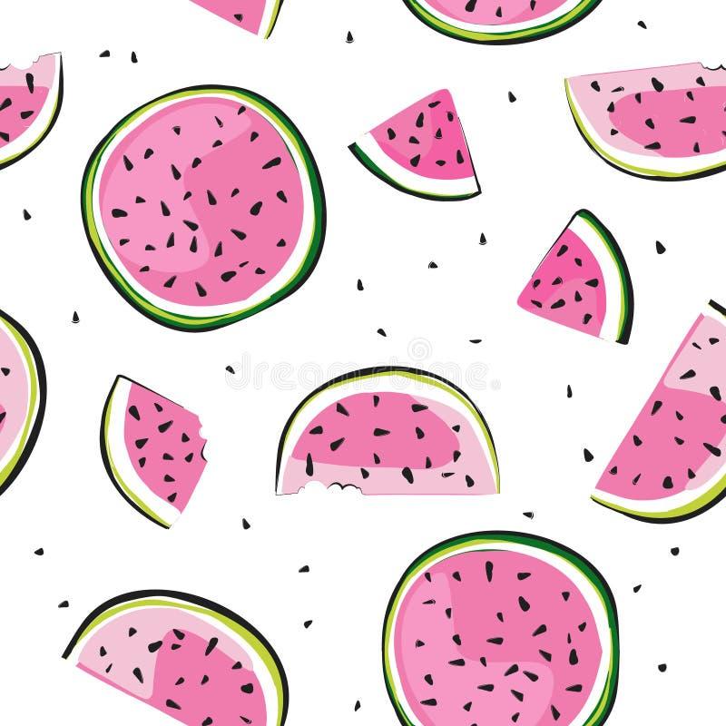 Weinlesewassermelone Muster, großer Entwurf zu irgendwelchen Zwecken Wassermelonenfruchtvektor Naturtapete Vitaminnahrung Nahrung lizenzfreie abbildung