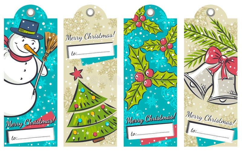 Weinleseweihnachtsaufkleber mit Schneemann, Baum, Glocken stock abbildung
