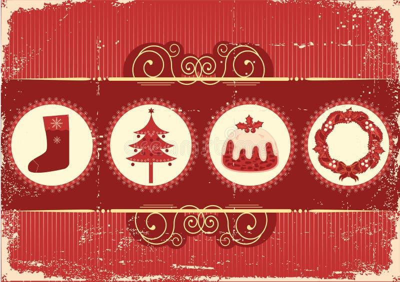 Weinleseweihnachtshintergrundkarte für Feiertag stock abbildung