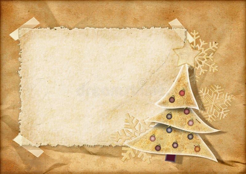 Weinleseweihnachtskarte vektor abbildung